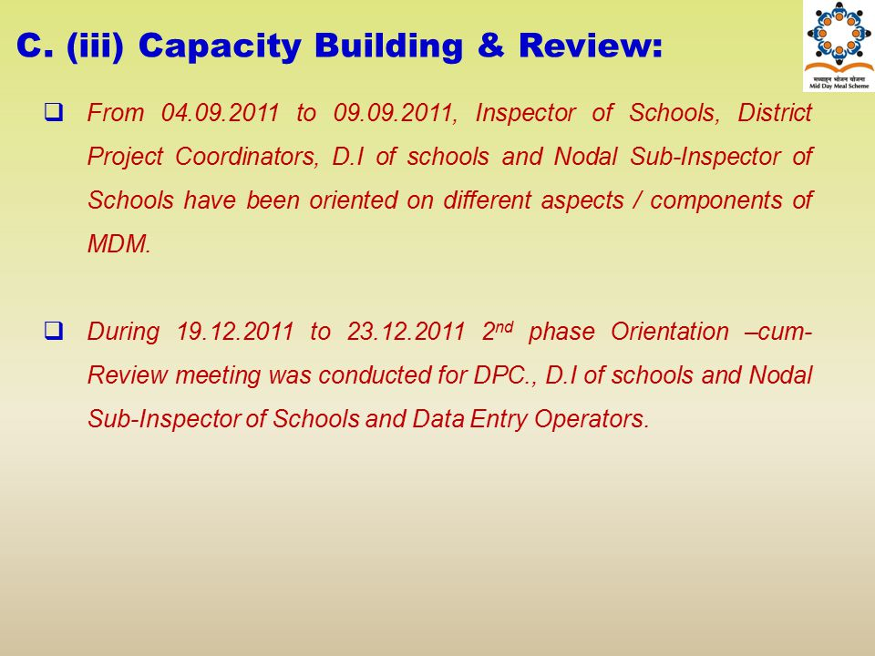 C. (iii) Capacity Building & Review: