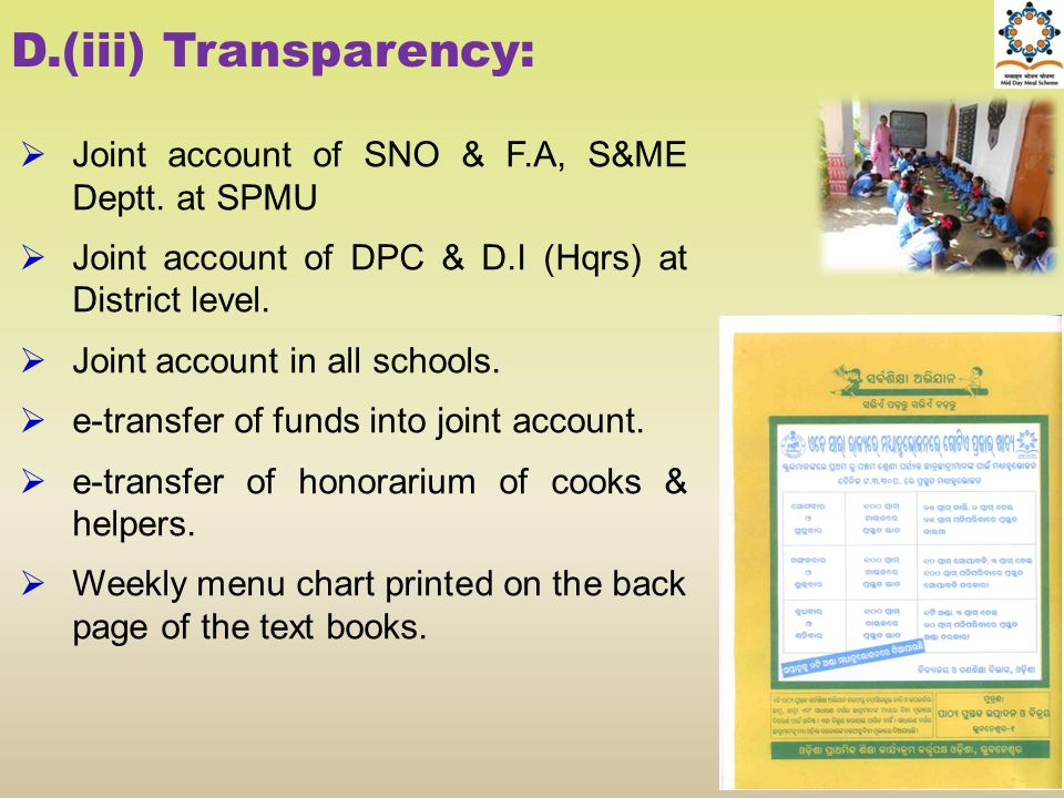 D.(iii) Transparency: Joint account of SNO & F.A, S&ME Deptt. at SPMU