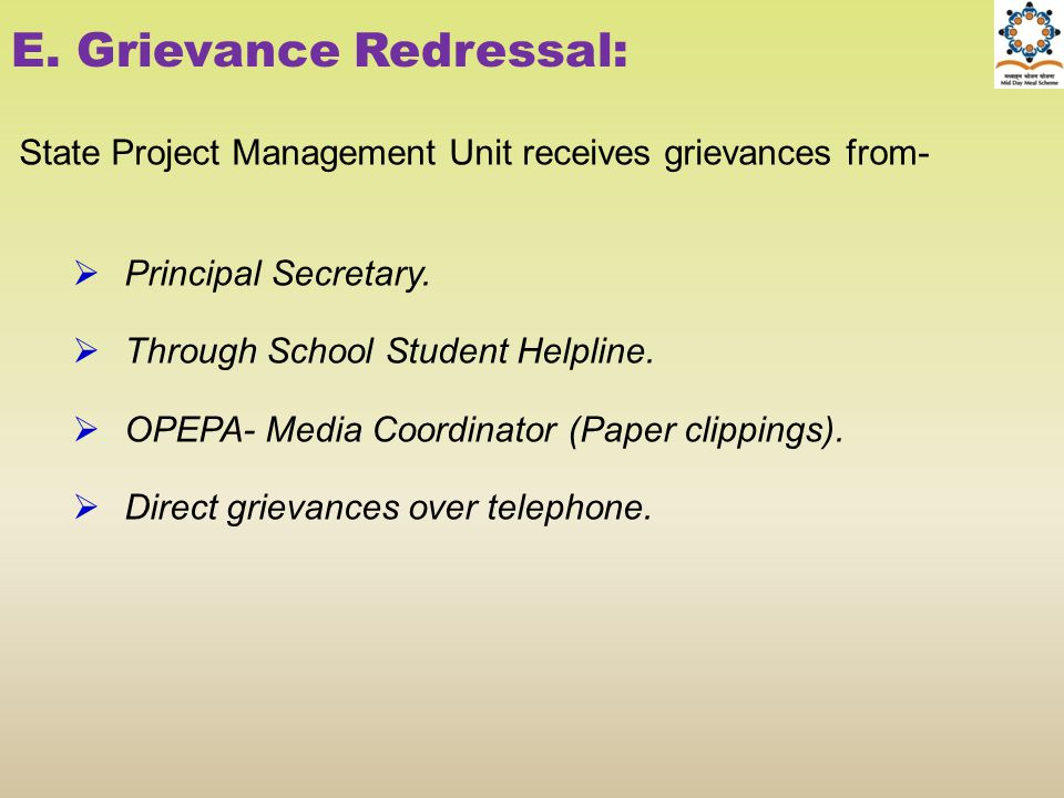 E. Grievance Redressal:
