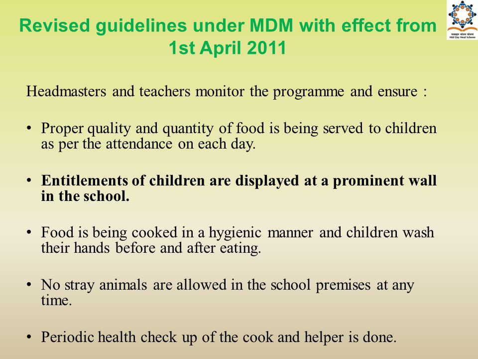 Revised guidelines under MDM with effect from 1st April 2011