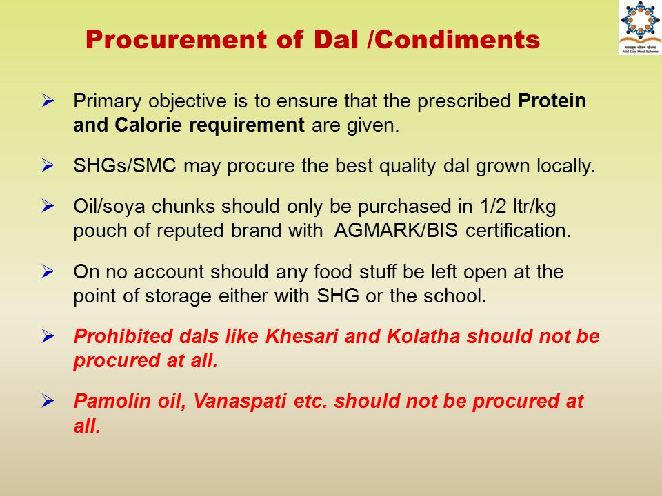 Procurement of Dal /Condiments