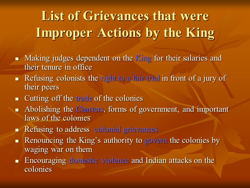 List of Grievances that were Improper Actions by the King