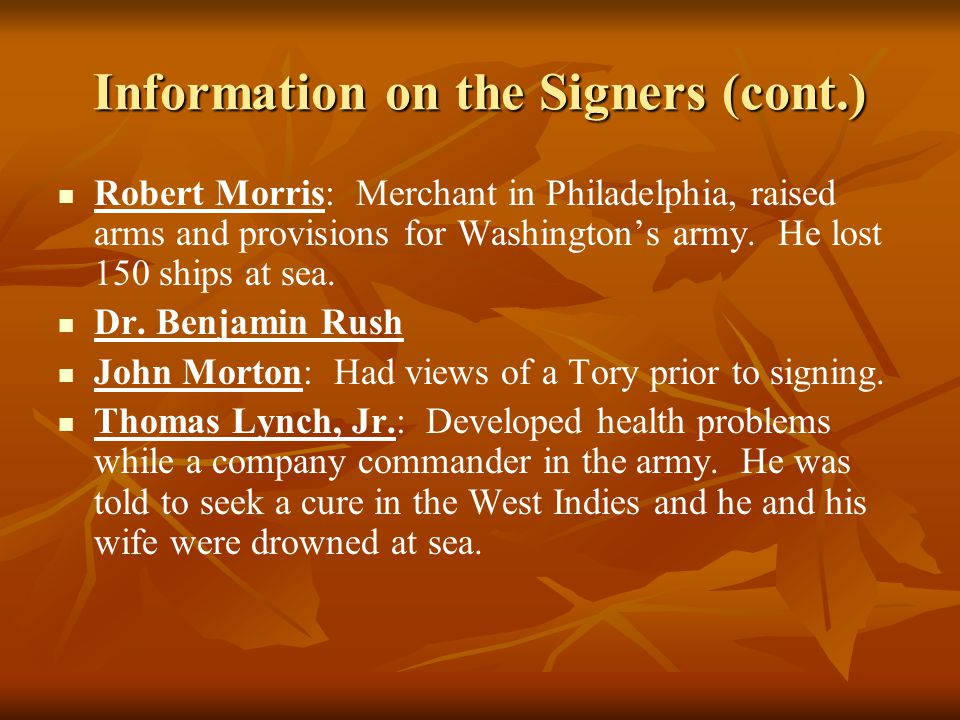 Information on the Signers (cont.)