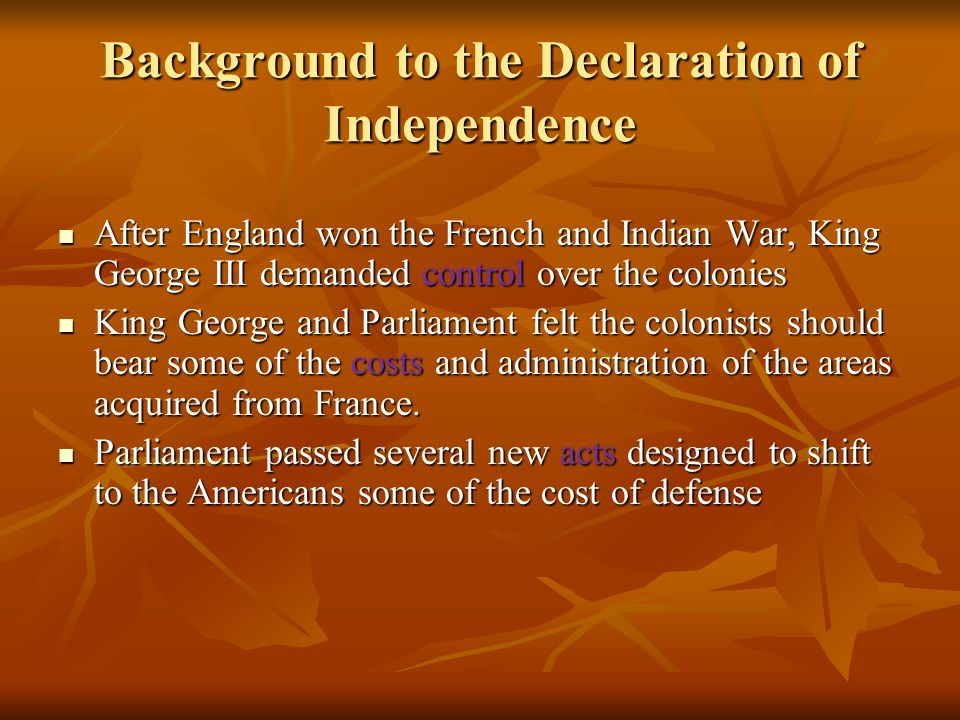 Background to the Declaration of Independence
