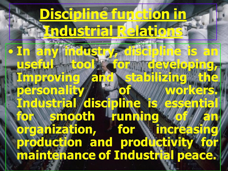 Discipline function in Industrial Relations