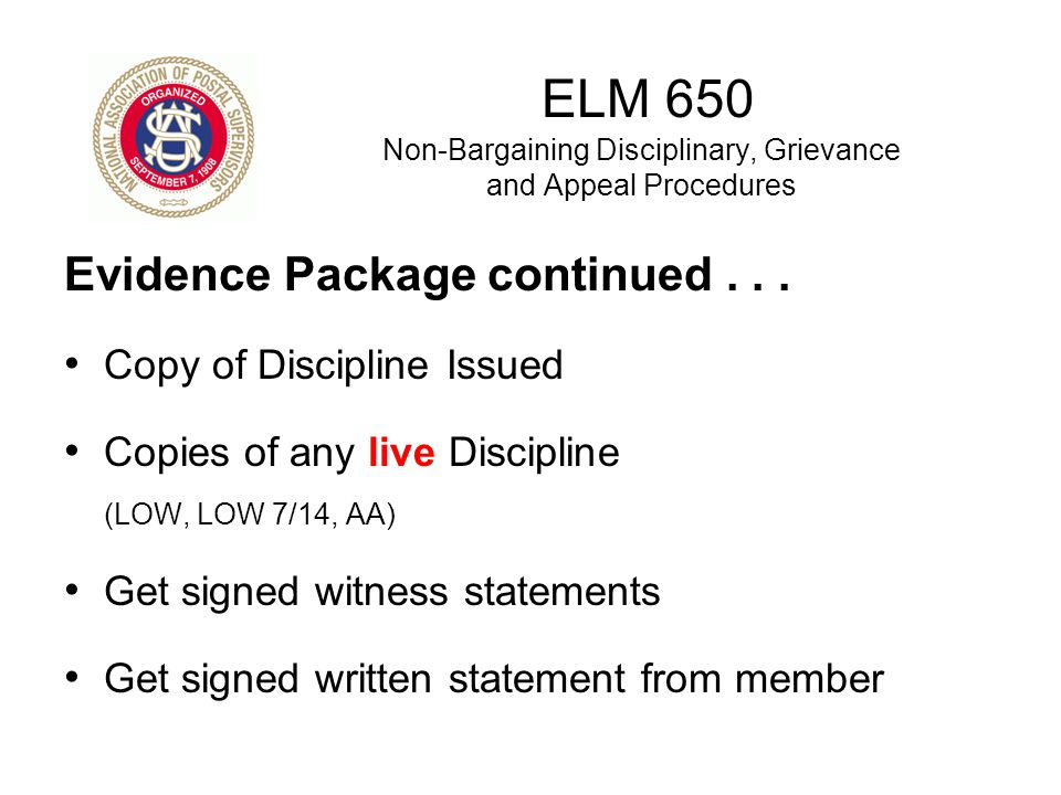 ELM 650 Non-Bargaining Disciplinary, Grievance and Appeal Procedures