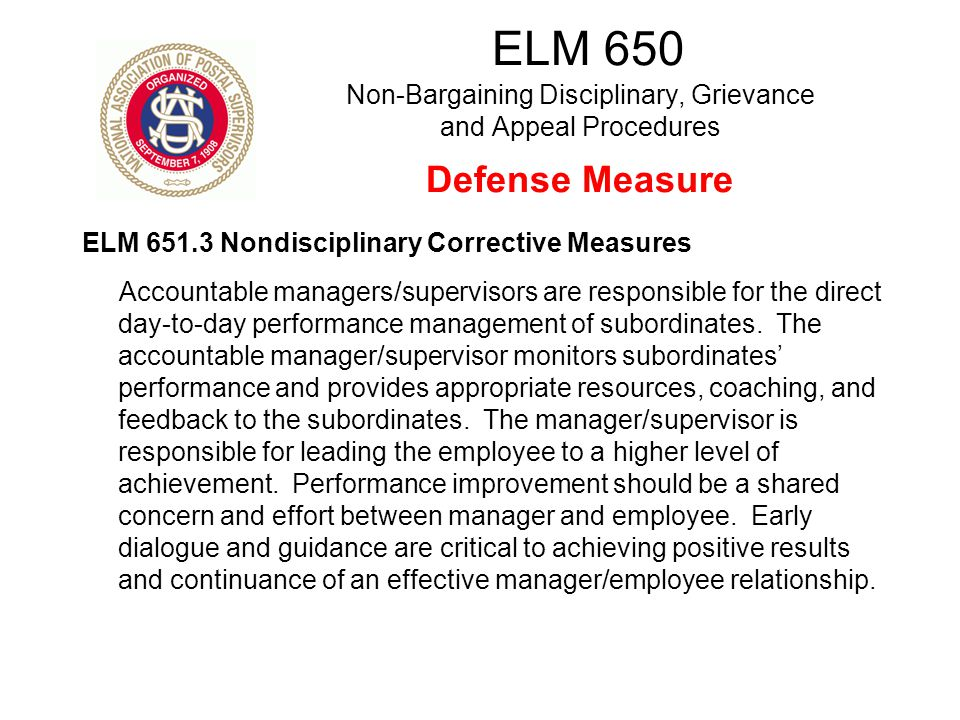 ELM 650 Non-Bargaining Disciplinary, Grievance and Appeal Procedures Defense Measure