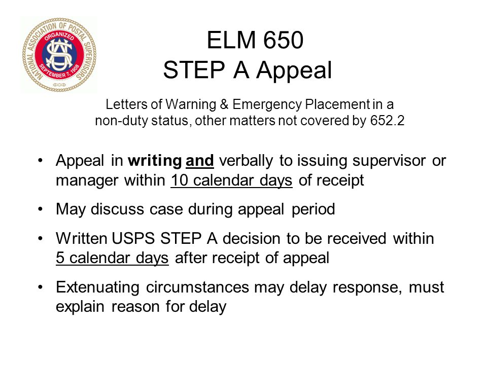 ELM 650 STEP A Appeal Letters of Warning & Emergency Placement in a. non-duty status, other matters not covered by 652.2.