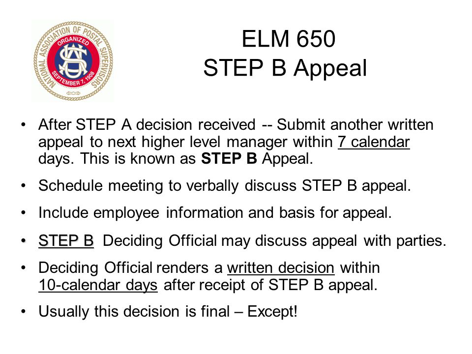 ELM 650 STEP B Appeal