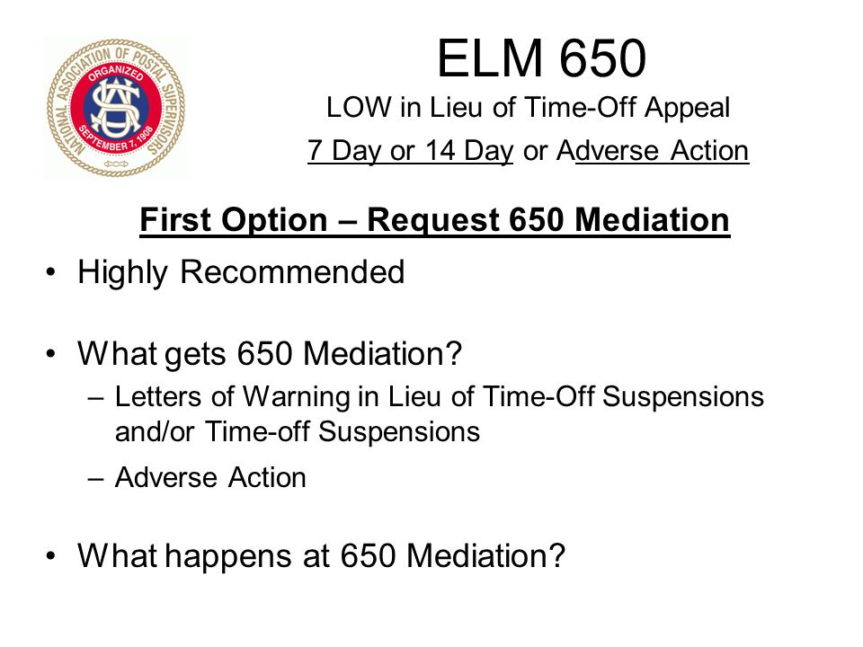 First Option – Request 650 Mediation