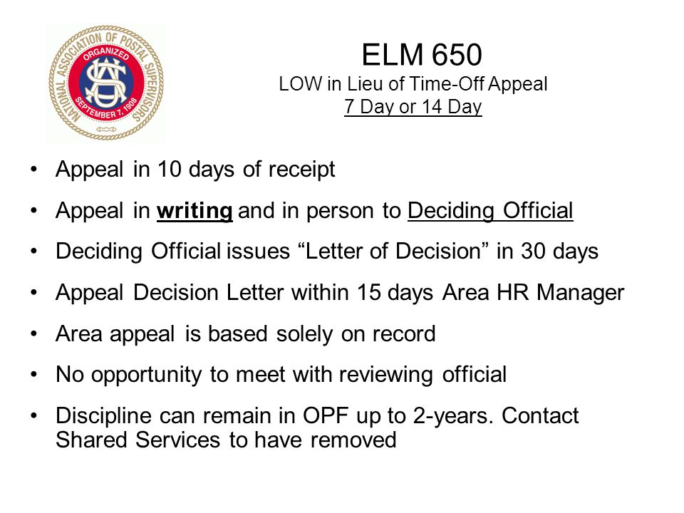 ELM 650 LOW in Lieu of Time-Off Appeal 7 Day or 14 Day