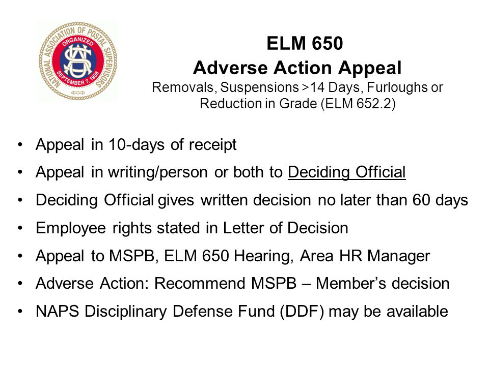 ELM 650 Adverse Action Appeal Removals, Suspensions >14 Days, Furloughs or Reduction in Grade (ELM 652.2)