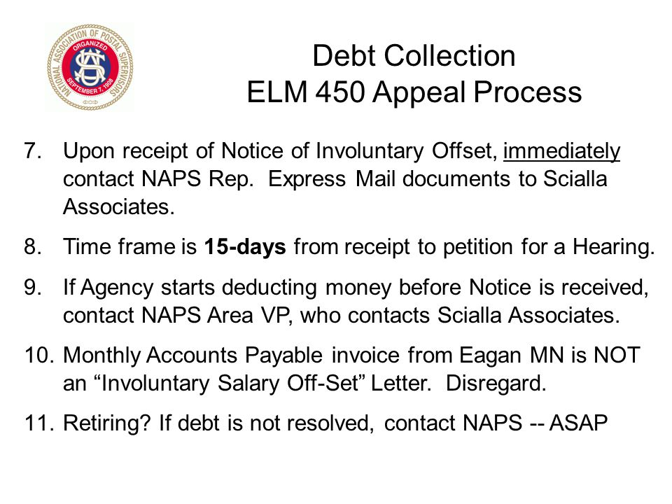 Debt Collection ELM 450 Appeal Process