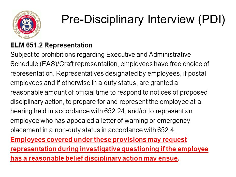 Pre-Disciplinary Interview (PDI)