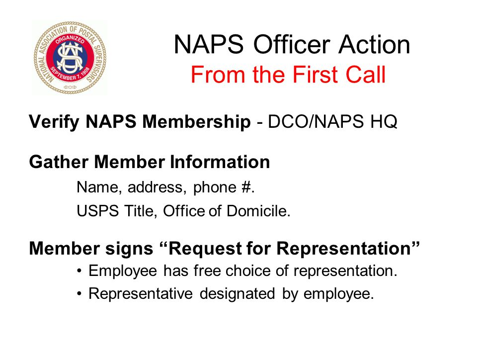 NAPS Officer Action From the First Call