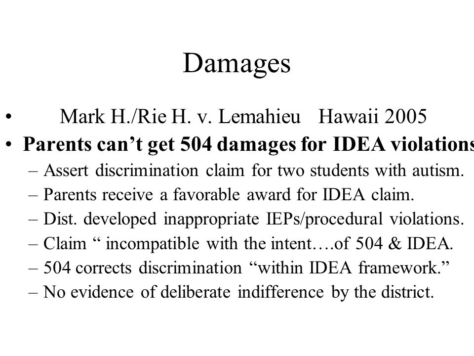Damages Mark H./Rie H. v. Lemahieu Hawaii 2005