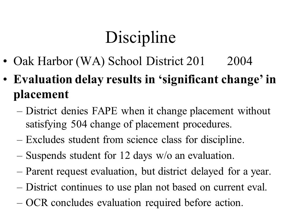 Discipline Oak Harbor (WA) School District 201 2004