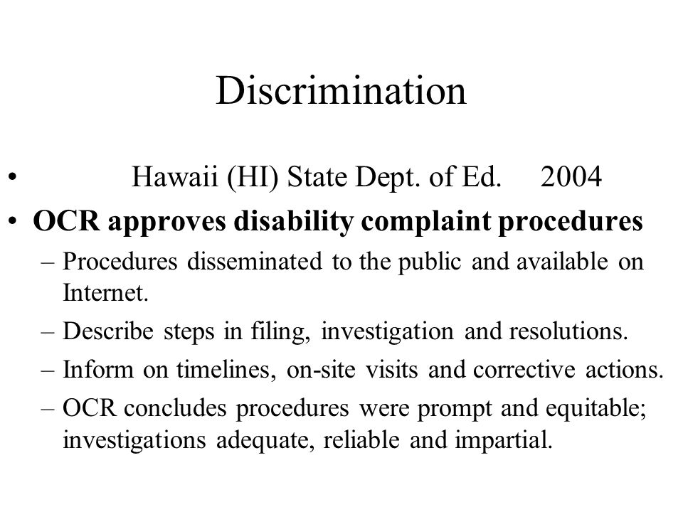 Discrimination Hawaii (HI) State Dept. of Ed. 2004