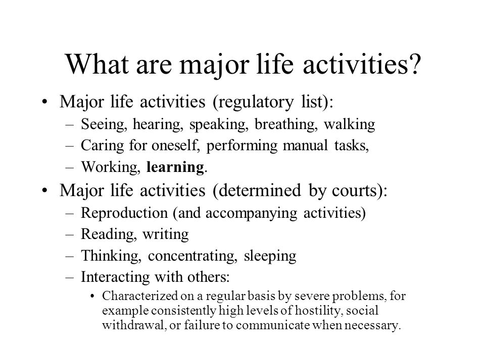 What are major life activities