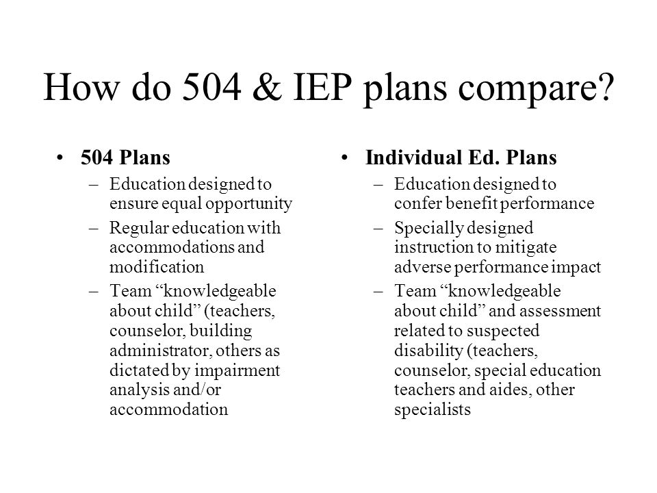 How do 504 & IEP plans compare