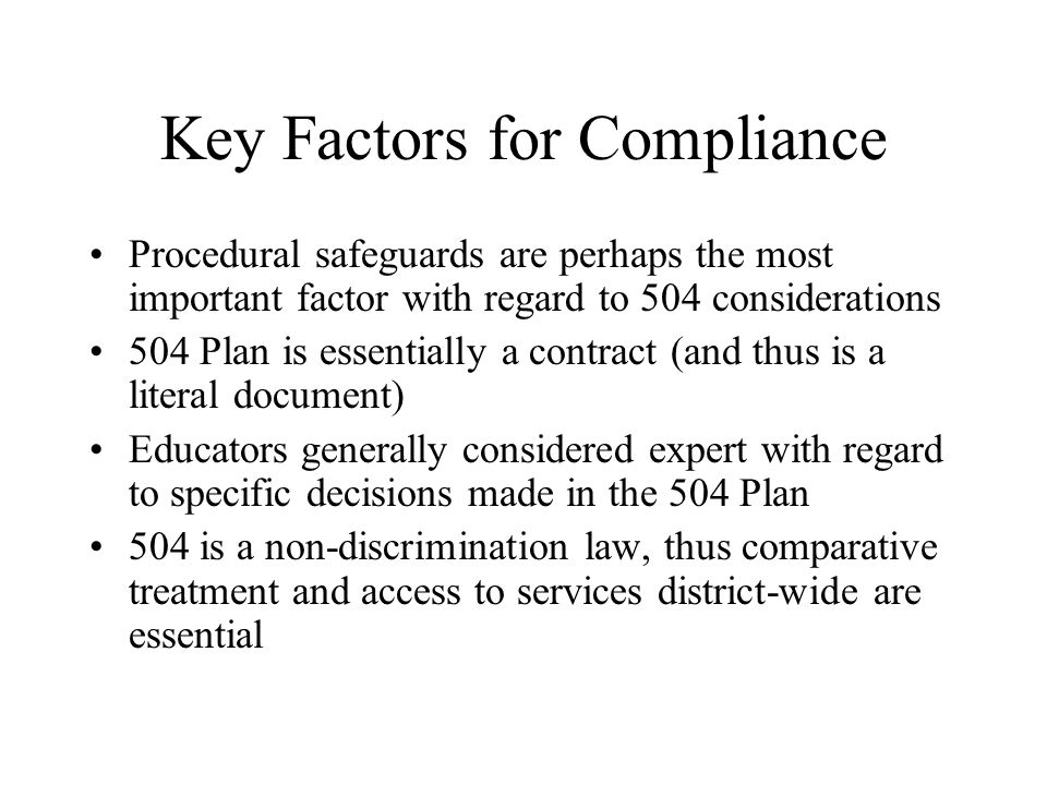 Key Factors for Compliance