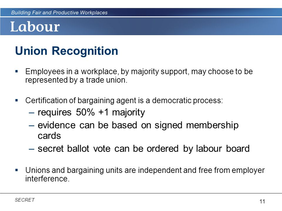 Union Recognition requires 50% +1 majority