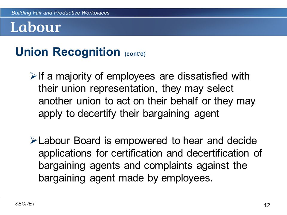Union Recognition (cont'd)