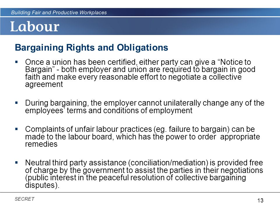 Bargaining Rights and Obligations
