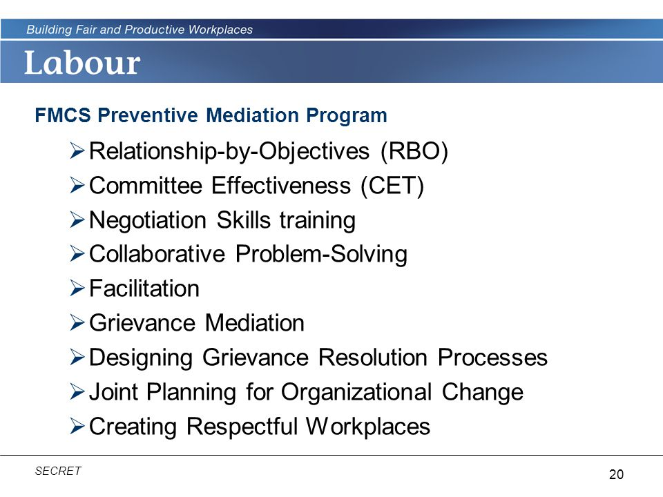 FMCS Preventive Mediation Program
