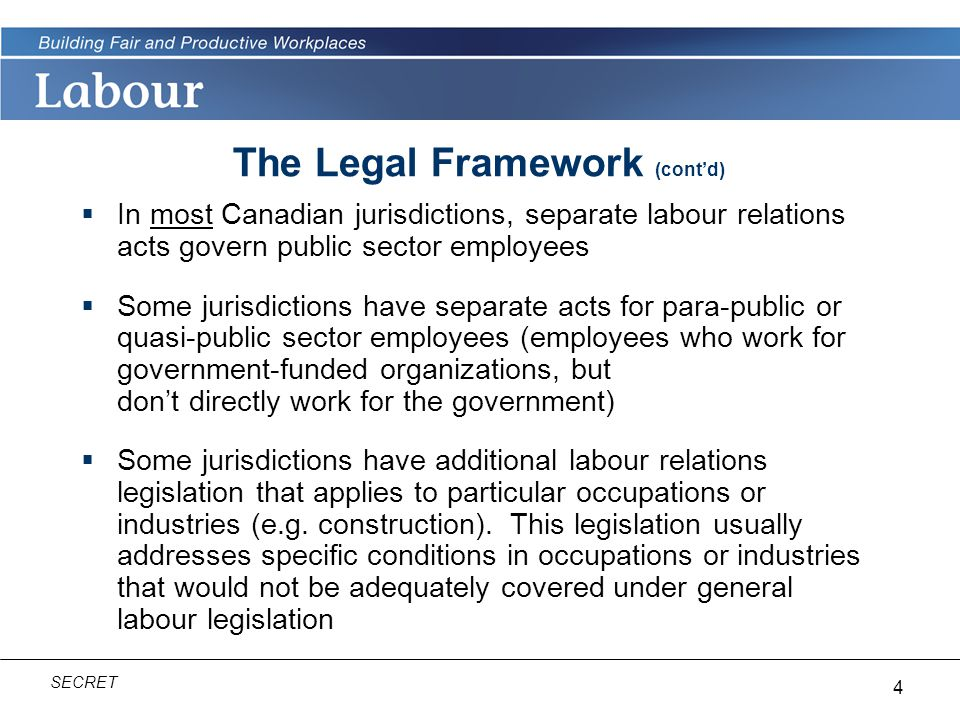 The Legal Framework (cont'd)