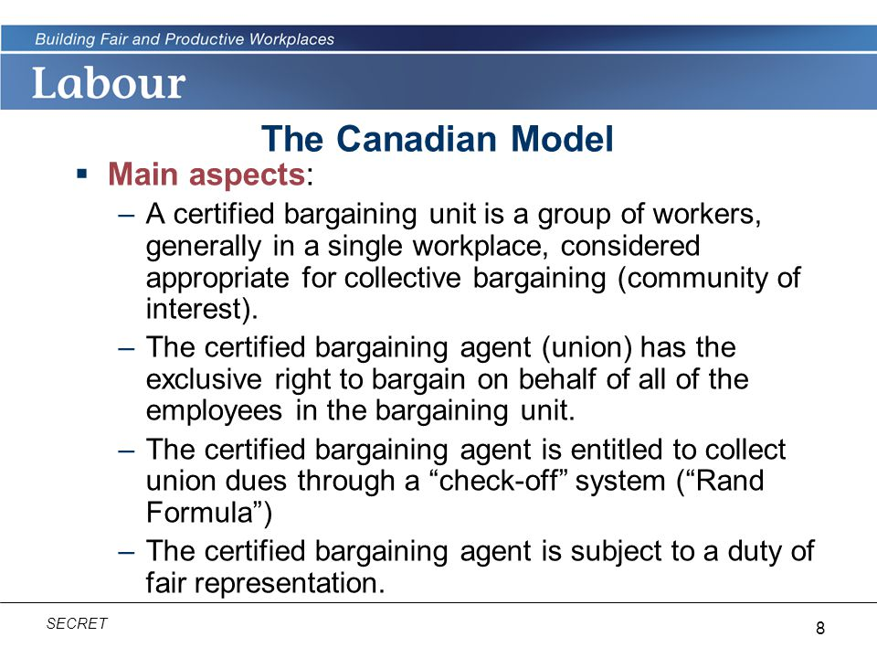 The Canadian Model Main aspects: