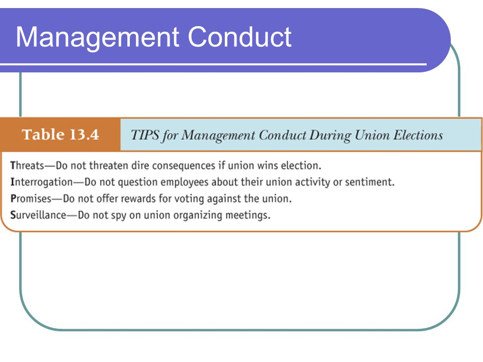 Management Conduct