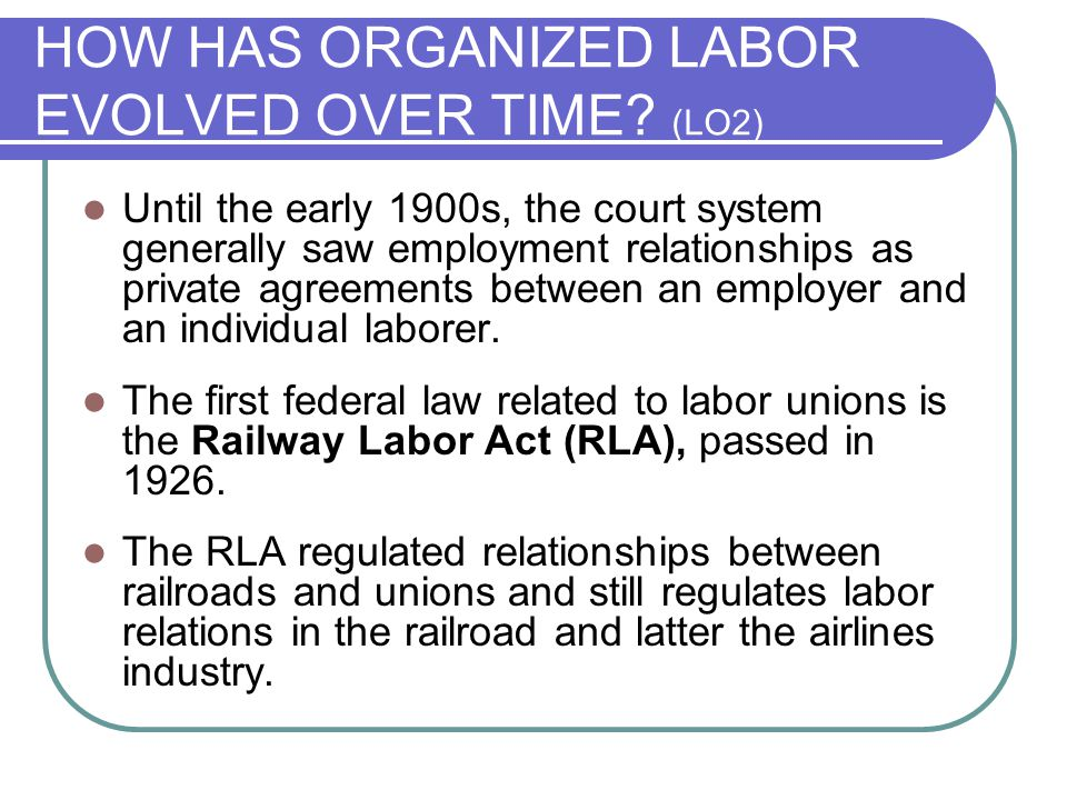 HOW HAS ORGANIZED LABOR EVOLVED OVER TIME (LO2)