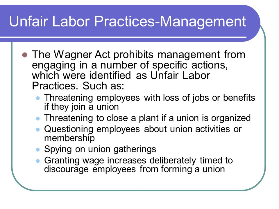 Unfair Labor Practices-Management