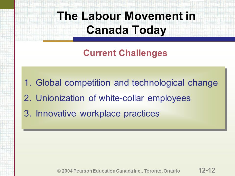 The Labour Movement in Canada Today