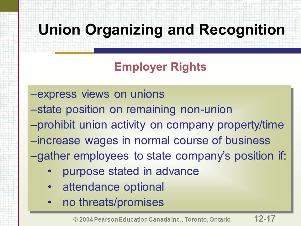 Union Organizing and Recognition