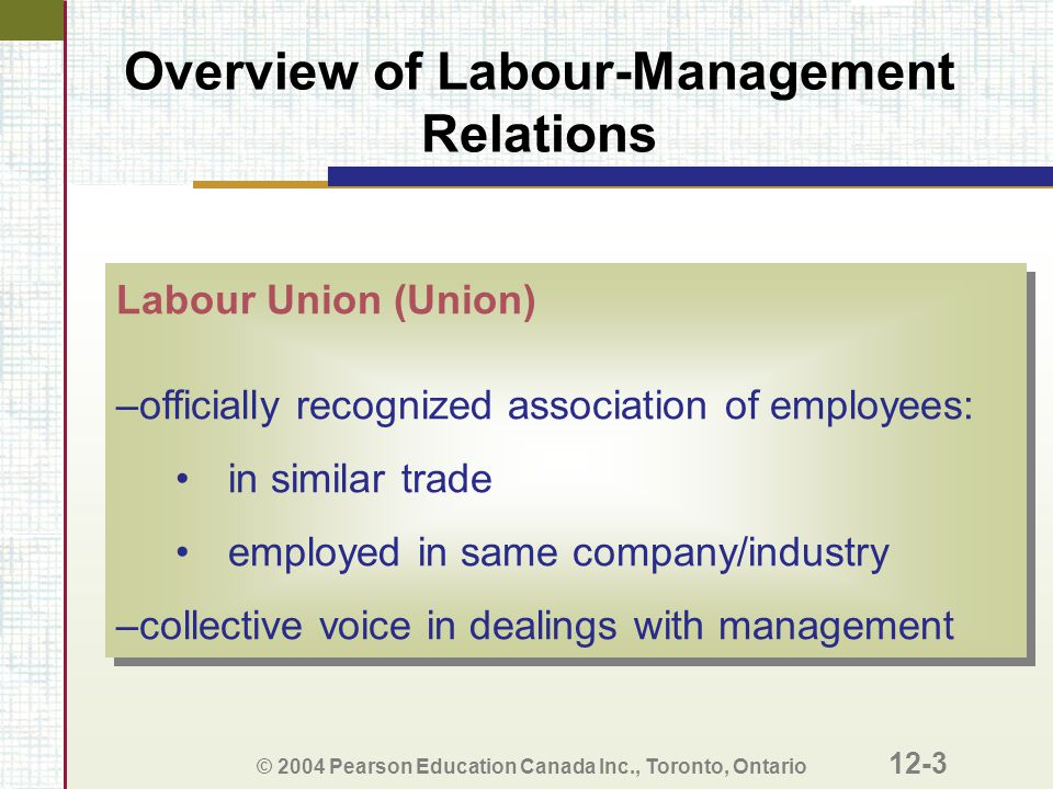Overview of Labour-Management Relations