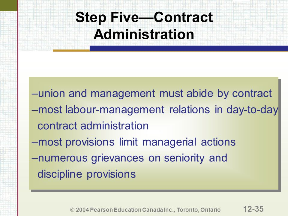 Step Five—Contract Administration
