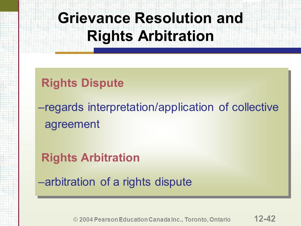 Grievance Resolution and Rights Arbitration
