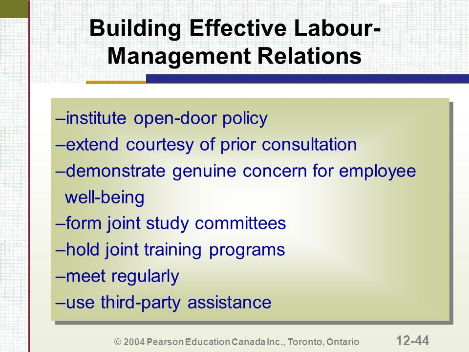 Building Effective Labour-Management Relations