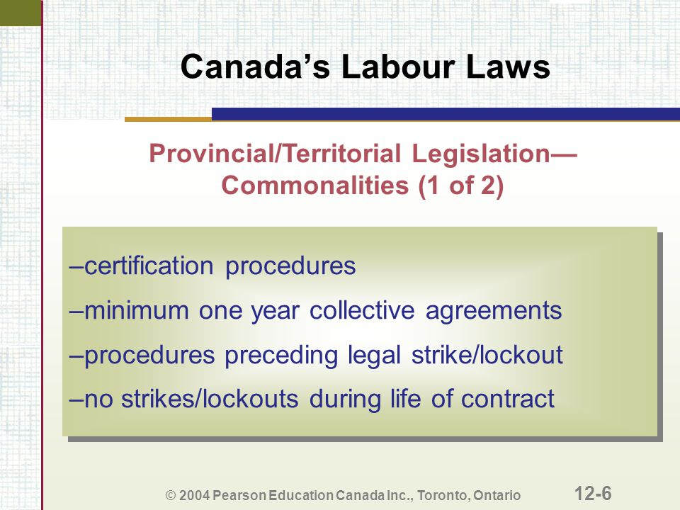 Provincial/Territorial Legislation—