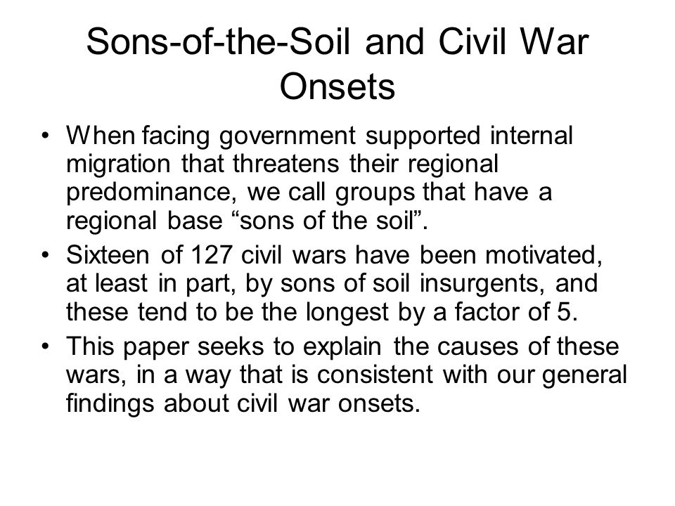 Sons-of-the-Soil and Civil War Onsets
