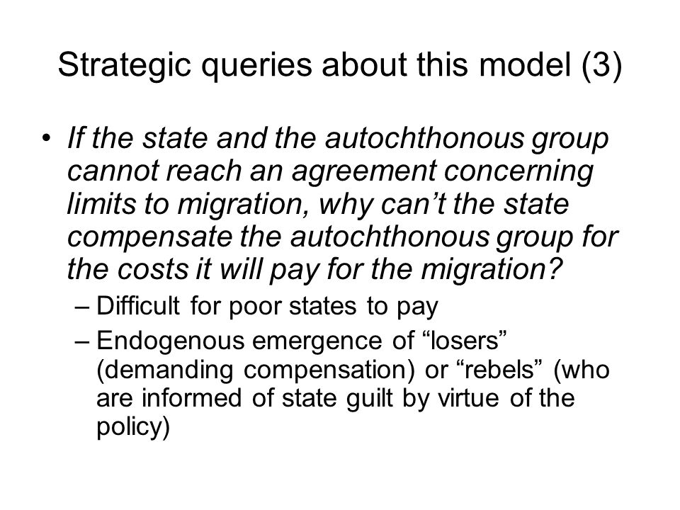 Strategic queries about this model (3)