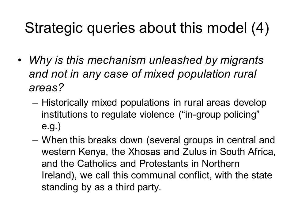 Strategic queries about this model (4)