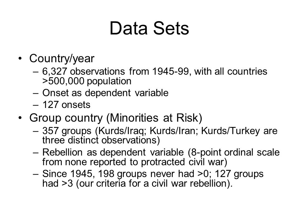 Data Sets Country/year Group country (Minorities at Risk)
