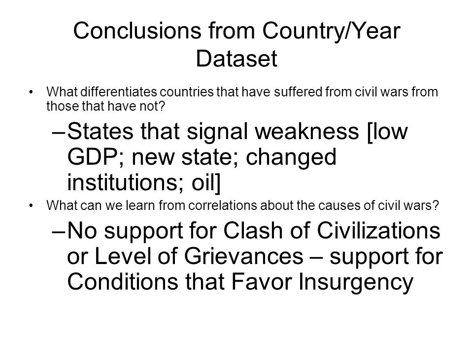 Conclusions from Country/Year Dataset