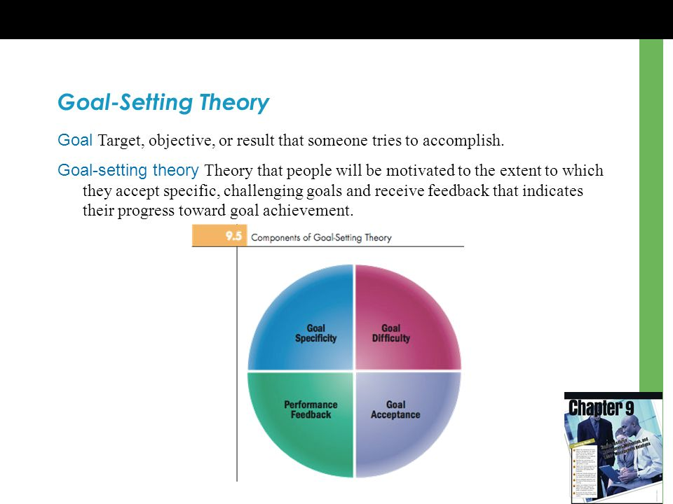 Goal-Setting Theory Goal Target, objective, or result that someone tries to accomplish.
