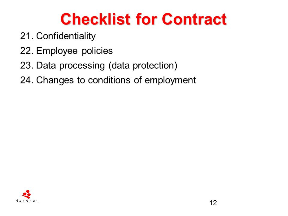 Checklist for Contract