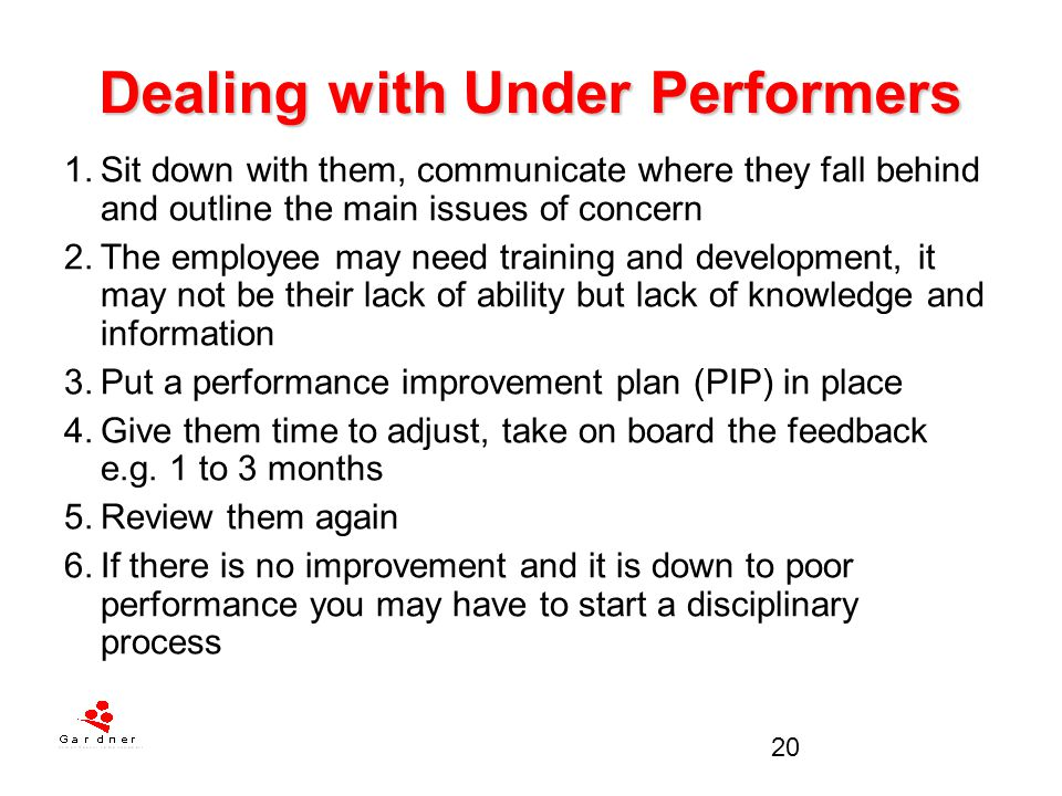 Dealing with Under Performers