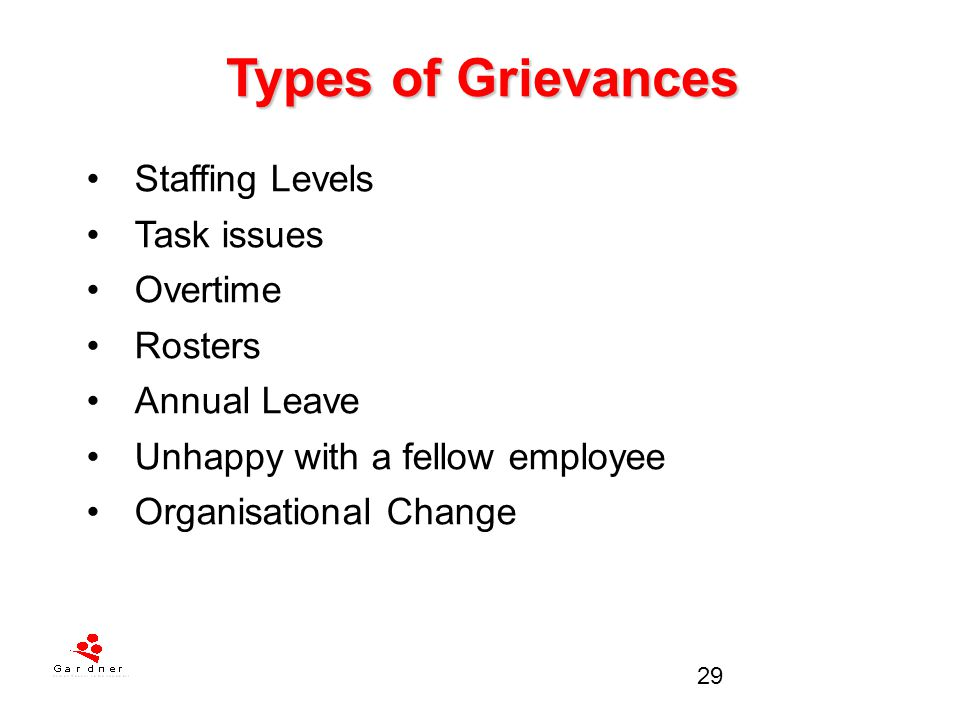 Types of Grievances Staffing Levels Task issues Overtime Rosters